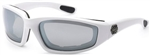 Padded Motorcycle Glasses - White Frame