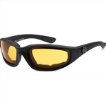 Padded Motorcycle Glasses - Yellow Lens, Night Riding