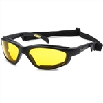 Foam Padded Motorcycle Glasses for Bikers, Yellow Lens, Night Riding