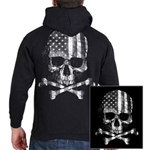 Biker Skull & Crossbones Flag Hoody - Zip-Up