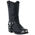"Dingo Mens Black Harness Boot With Eagle Tips ""LA Rocker Boot"""