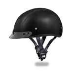 Daytona Skull Cap Motorcycle Helmets: Black Leather, Visor