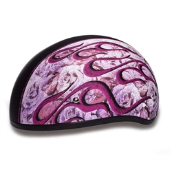 Girly Ladies Helmets - Slim Pink Flames DOT Half