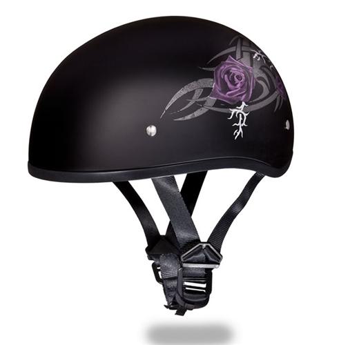 Women S Motorcycle Half Helmets Purple Rose Daytona Skull Cap