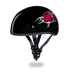 Red Rose Ladies Motorcycle Helmet - Slim