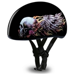 Flying Skull Rose Ladies Motorcycle Helmet - Slim