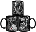 DGA Native Ceramic Coffee Mug: Indian Wolf Design