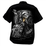 Men's Biker Shop Shirts: DGA Freedom Skull Motorcycle