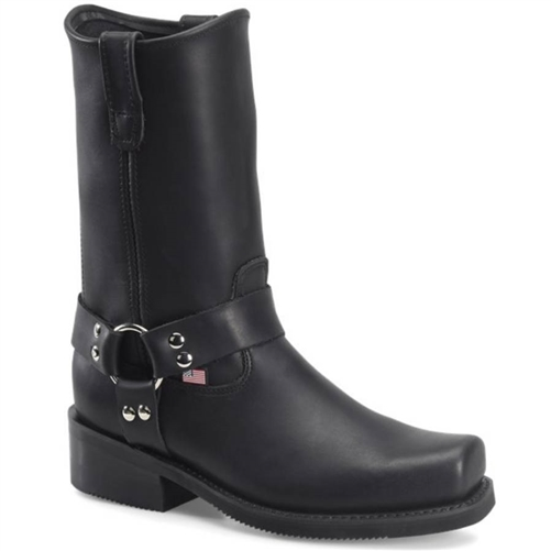 mens black leather harness boots