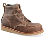 Double-H USA Made Work Boots, Brown Leather Lace-Up