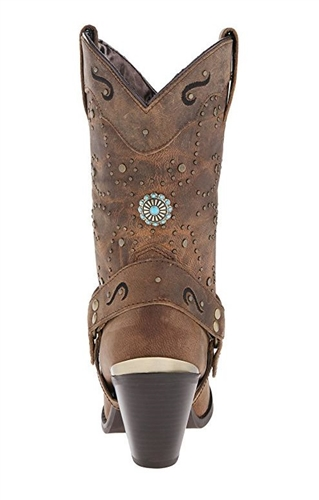 DINGO Brand Buttery Soft Beige Leather Western Style Woman/'s Harness Concho Studs and Chain Cowboy Boots Size 5.56