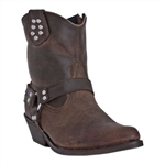 Dingo Women's Harness Boots with Zipper, Brown Leather- Western Style