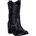 Womens Black Leather Studded Western Boots