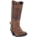 Womens Brown Leather Tall Western Boots