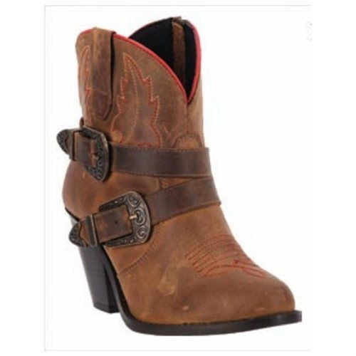 Dingo Brown Leather Western Boots Buckle Detailing