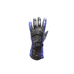 Blue & Black Women's Leather Motorcycle Gloves