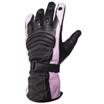 Pink & Black Women's Leather Motorcycle Gloves