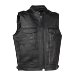 Utility Pocket Leather Motorcycle Vest for Men: Gun Vest
