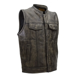 Distressed Brown Leather Motorcycle Vests Men: Gun Vest