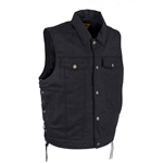 Men's Black Denim Motorcycle Vests: Side Laces