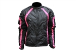 Pink Black Women's Motorcycle Jacket