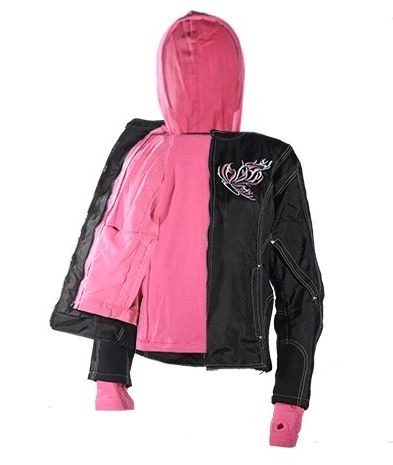 womens textile jacket with pink hoodie amp butterfly