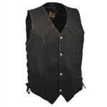 Black Denim Motorcycle Vest for Bikers
