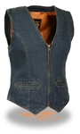 Women's Denim Motorcycle Vest: Zipper Front