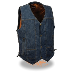 10 Pocket Denim Motorcycle Vest for Men