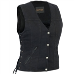 Women's Black Denim Vests - Concealed Carry, Side Lace