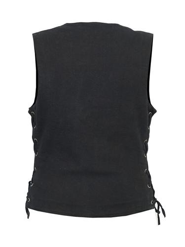 Concealed Carry Ladies Black Denim Motorcycle Vests