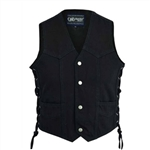Kids Black Denim Motorcycle Vest - Biker Style