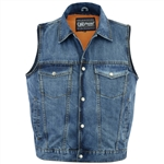 Zipper Classic Blue Denim Vests w/ Collar