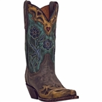 Ladies Dan Post Leather Western Boots Vintage Bluebird