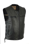 Leather Motorcycle Club Vest for Men: Zipper