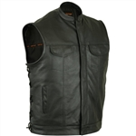 Anarchy Leather Motorcycle Vest for Men: Zipper