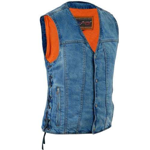 Men S Classic Blue Denim Motorcycle Club Vests Concealed