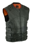 Updated SWATT Leather Motorcycle Vest for Men