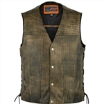 Distressed Brown Leather Motorcycle Vest for Men: Club Vest