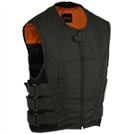Bullet Proof Style Men's Motorcycle Vest: Black Textile