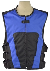 ;Bullet Proof Style Men's Motorcycle Vest: Blue Textile