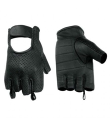 Perforated Leather Fingerless Motorcycle Gloves