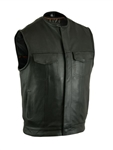 Premium Cowhide Men's Leather Motorcycle Vest