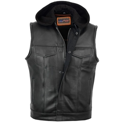 Hooded Zip-Up Leather Biker Club Vest