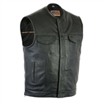 Collarless Leather Motorcycle Vests for Men: Club Style