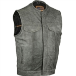 Low Collar Gray Leather Motorcycle Vest