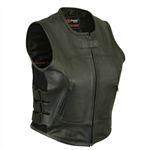 Women's Leather Motorcycle Vests - Biker Swat Style