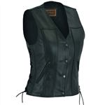 Women's Leather Motorcycle Vest - Premium Quality