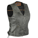Women's Gray Leather Motorcycle Vests Concealed Carry