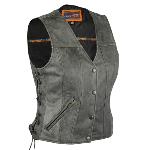 7bb050c97035 Women's Leather Motorcycle Vests *NEW* Gray Concealed Carry
